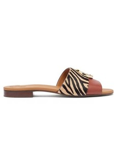 Chloé Zebra-print calf hair and leather slides