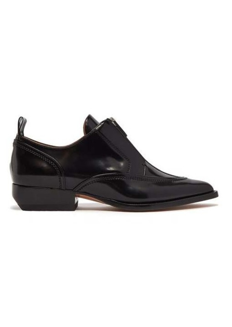 Chloé Zip-front point-toe leather shoes