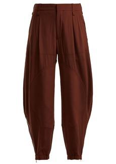 Chloé Zipped-cuff silk crepe-de-Chine trousers