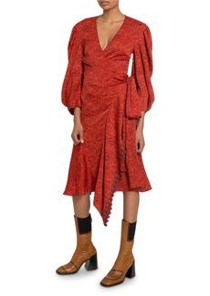 Chloé Chloe 3/4-Sleeve V-Neck Wrap Dress