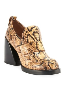 Chloé Chloe Adelie Python-Embossed Loafer Booties