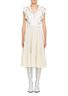 Chloé Chloe Broderie Anglaise Silk Cady Victorian-Style Midi Dress