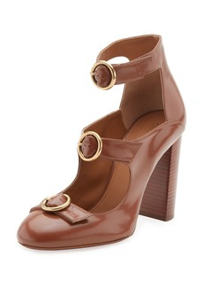 Buckle-Front Leather Pump