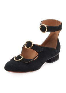 Buckle-Front Suede Flat