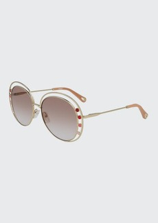 Chloé Chloe Butterfly Halo Metal Sunglasses