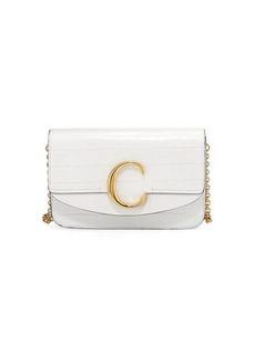 Chloé Chloe C Croc-Embossed Leather Shoulder Bag