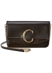 Chloé Chloe C Leather & Suede Clutch With Chain