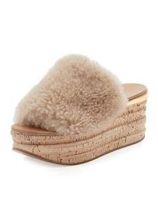 Chloé Chloe Camille Shearling Fur Platform Slide Sandal