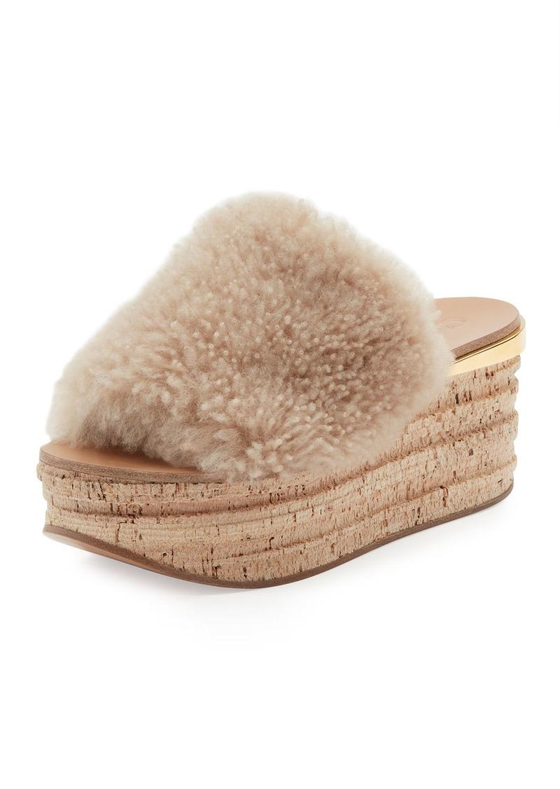 1065de71f69e Chloé Chloe Camille Shearling Fur Platform Slide Sandal