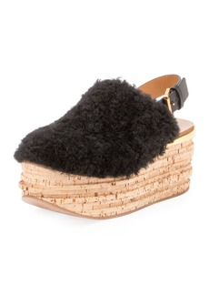 Chloé Chloe Camille Shearling Fur Platform Slingback Sandal