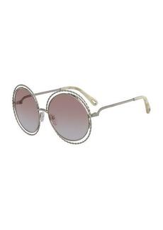 2cb00d9ee402 Chloé Chloe Carlina Round Concentric Metal Sunglasses