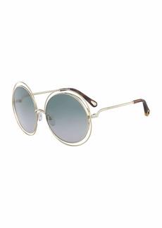 a07f9e0a2394 Chloé Chloe Carlina Round Wire Metal Sunglasses