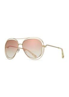 Chloé Carlina Trimmed Aviator Sunglasses