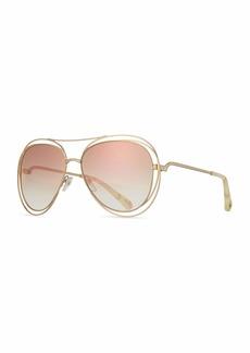 8cfcba6a561c Chloé Chloe Carlina Trimmed Aviator Sunglasses
