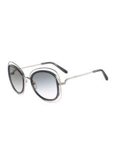 Chloé Chloe Carlina Trimmed Butterfly Sunglasses