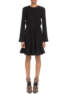 Chloé Chloe Crewneck Long-Sleeve Tie-Waist Crepe Mini Dress