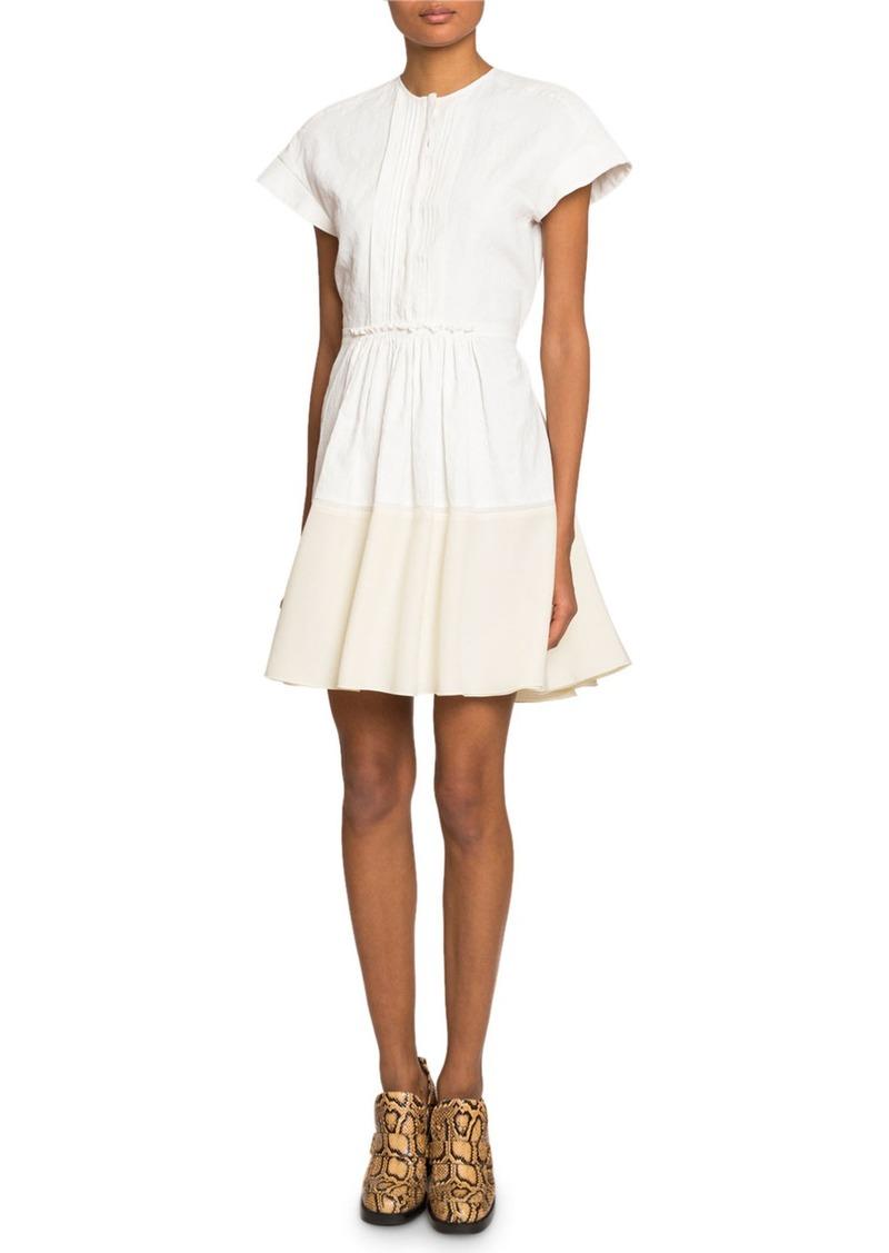 Chloé Chloe Crewneck Pleated-Top Dress