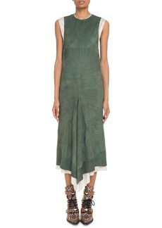 Chloé Chloe Crewneck Sleeveless Suede Midi Dress w/ Poplin Combo