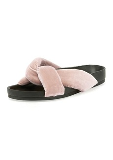 Chloé Chloe Crisscross Velvet Slide Sandal