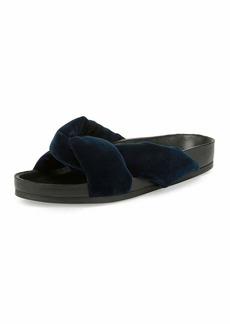 Crisscross Velvet Slide Sandal