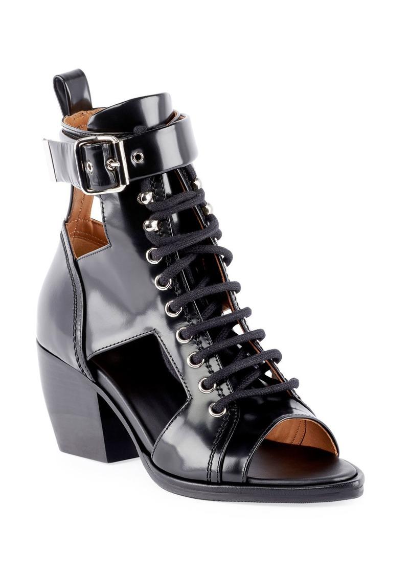 Chloé Chloe Cutout Lace-Up Leather Sandals