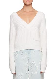 Chloé Chloe Deep-V Chunky Ribbed Wool Sweater