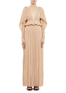 Chloé Chloe Deep V-Neck Plisse Cape-Back Gown