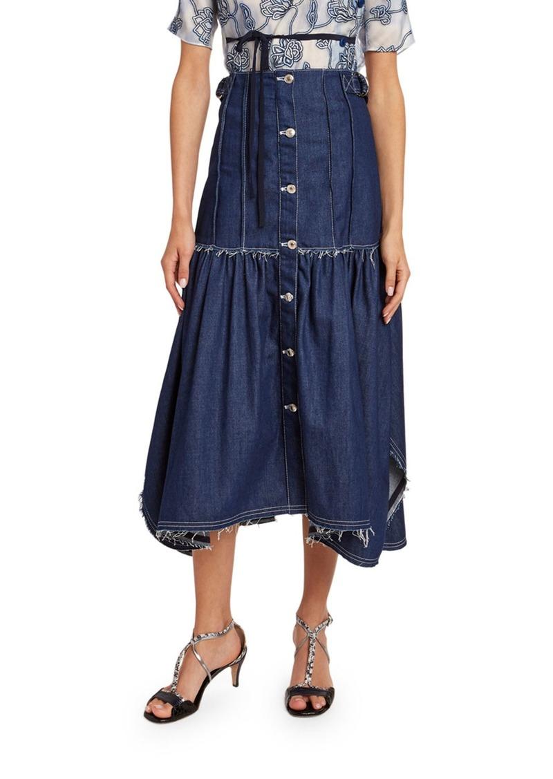 Chloé Chloe Distressed Denim Midi Skirt