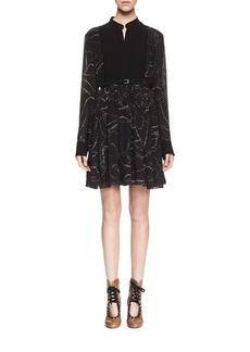 Chloé Chloe Embroidered Pintucked Long-Sleeve Dress