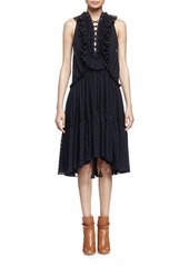 Chloé Chloe Embroidered Tiered Ruffled Dress