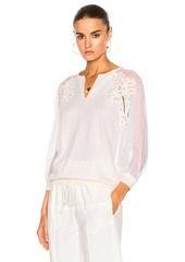 Chloé Chloe Embroidered Tulle Insert Blouse