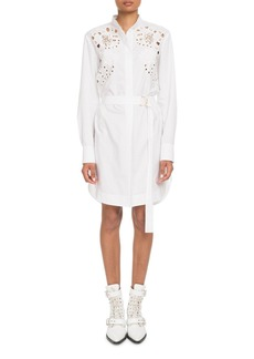 Chloé Chloe Eyelet Long-Sleeve Button-Front Cotton Poplin Shirtdress