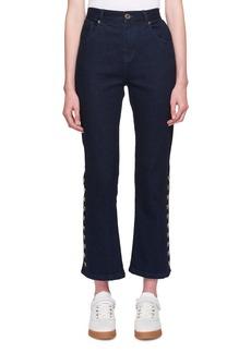 Chloé Chloe Five-Pocket Flared-Leg Cropped Jeans w/ Button Trim