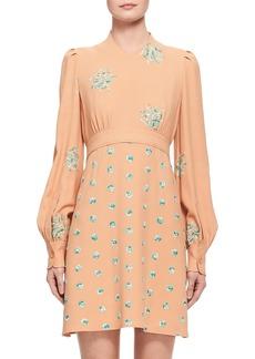 Chloé Floral-Embroidered Belted Bishop-Sleeve Dress