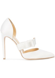 Chloe Gosselin pointe toe bow pumps - White