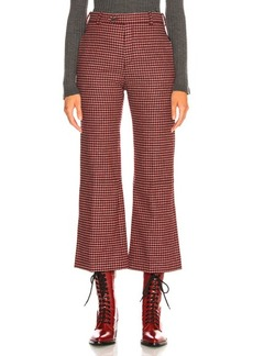 Chloé Chloe Houndstooth Wool Crop Flare Trousers