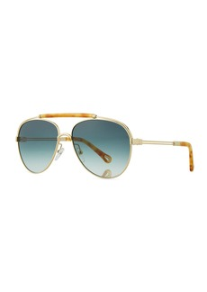 Jackie Aviator Sunglasses w/ Ornamental Brow Bar