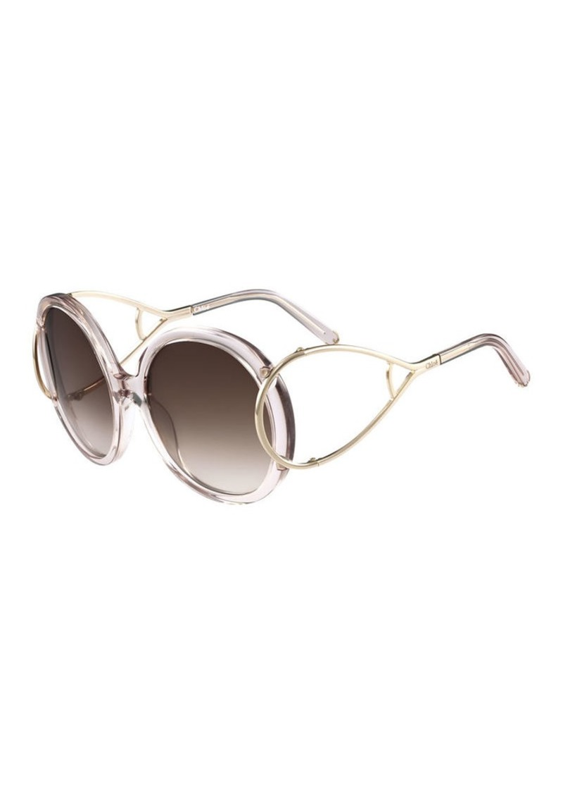 77e735d02b38 Chloé Chloe Jackson Round Oversized Sunglasses