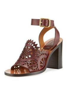 Chloé Chloe Kelby Crocheted Leather Block-Heel Sandal