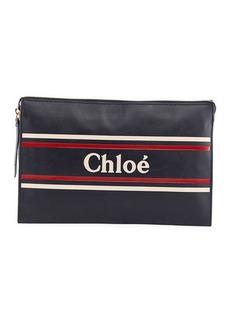 Chloé Chloe Large Zip Logo Clutch Bag