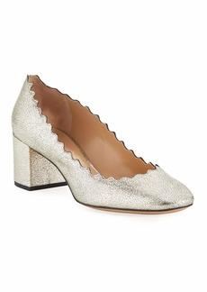 Chloé Chloe Lauren 50mm Scalloped Metallic Leather Block-Heel Pumps