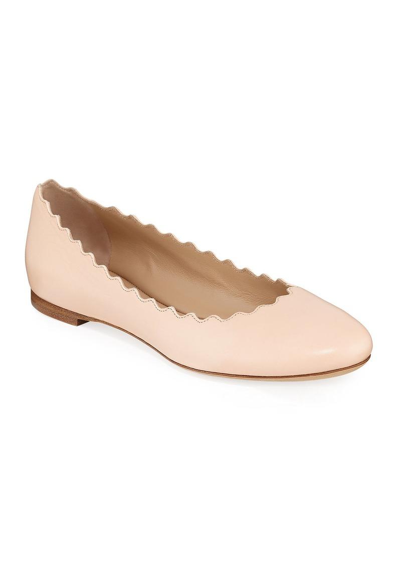 Chloé Chloe Lauren Scalloped Leather Ballet Flats