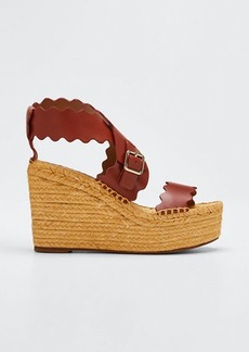 Chloé Chloe Lauren Scalloped Leather Wedge Espadrilles