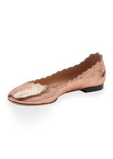Chloé Chloe Lauren Scalloped Metallic Leather Ballerina Flat
