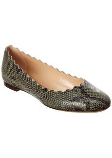 Chloé Chloe Lauren Scalloped Snake-Embossed Leather Ballerina Flat