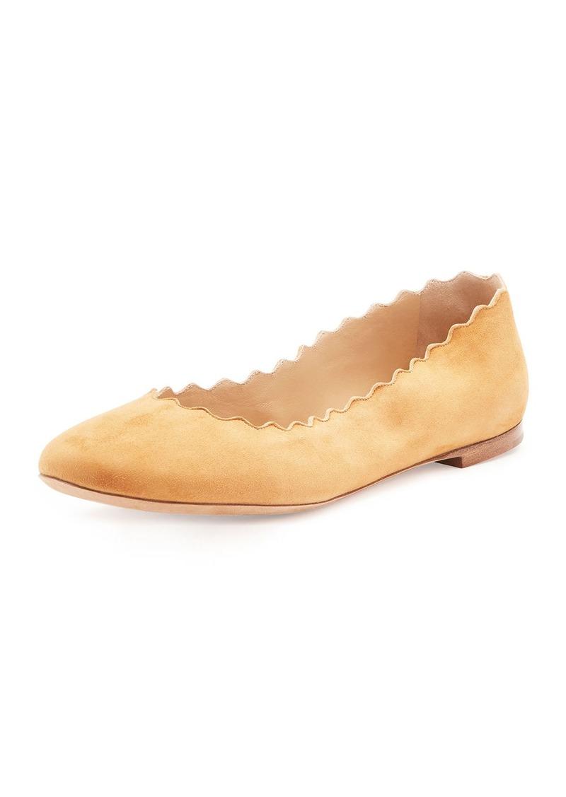 51388a461 SALE! Chloé Lauren Scalloped Suede Ballerina Flat