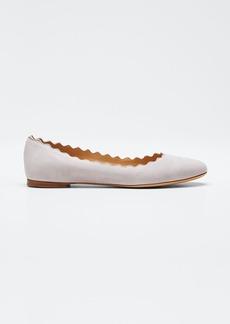 Chloé Chloe Lauren Scalloped Suede Ballet Flats