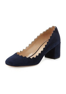 Chloé Chloe Lauren Scalloped Suede Block-Heel Pump