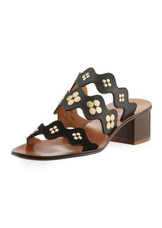 Chloé Chloe Lauren Studded Block-Heel Slide Sandal