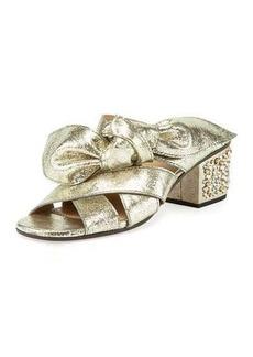 Chloé Chloe Leather Bow Chunky-Heel Sandal